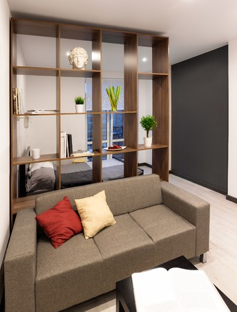apartment living: Living room in modern apartment Stock Photo