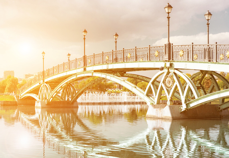 Close-op view of west arch bridge in Tsaritsyno park in Moscow
