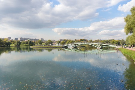 West arch bridge across the Middle Pond in Tsaritsyno park in Moscow