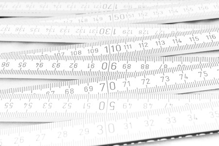 depth measurement: Close-up of the ruler on the white background
