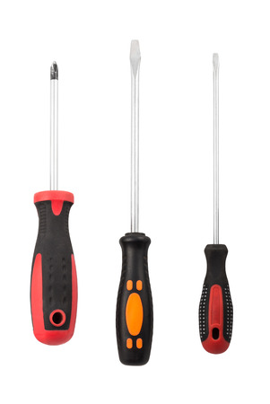 Set of different screwdrivers isolated with clipping path on the white background