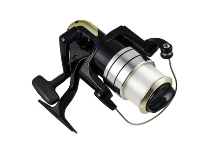 spinning reel: Isolated black spinning reel with clipping path on the white background