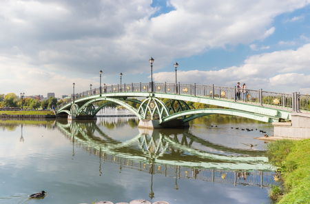 tsaritsyno: Pedestrian arch bridge in Tsaritsyno park in Moscow Stock Photo