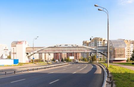 pedestrian bridge: Pedestrian bridge across the highway