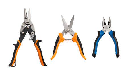 Isolated set of pliers and nippers with clipping path on the white background