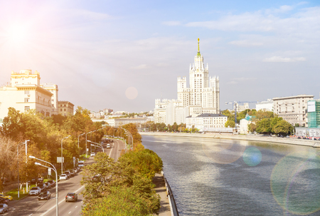 kotelnicheskaya embankment: The view of Kotelnicheskaya embankment on summer day with lensflare effect