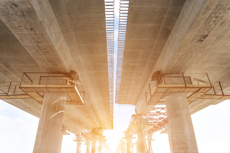 Incremental launch is a recent method of building a complete bridge deck from one end of the bridge only. Stock Photo