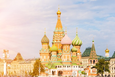Saint Basils Cathedral in Moscow surroundings Stock Photo