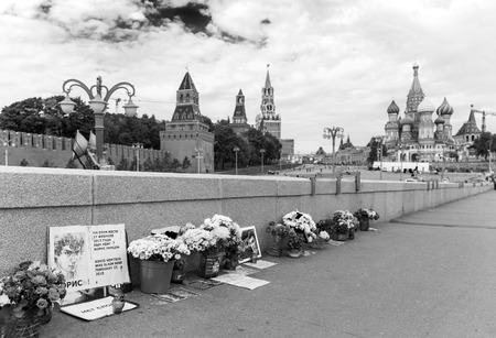 oppositional: MOSCOW - SEPTEMBER 22, 2015: Memorial to Boris Nemtsov on Bolshoy Moskvoretsky Bridge.  Politician was assassinated here on February 27, 2015