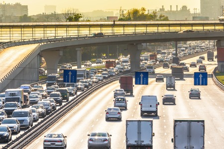highway traffic: Heavy traffic on the highway