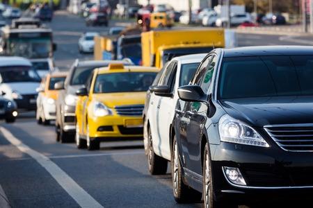 Traffic jam on the city street