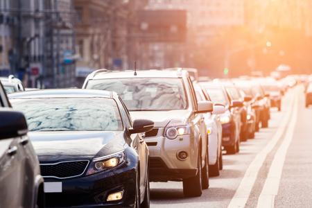 Close-up of the lane of cars in traffic jam Standard-Bild