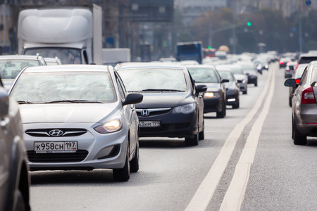 worst: MOSCOW - AUGUST 19, 2016: Cars standing in a traffic jam on the avenue. Traffic in the city is rated as one of the worst in the world. Editorial
