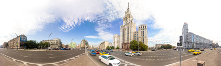 MOSCOW - AUGUST 19, 2016: 360 panoramic view of Garden-Spasskaya avenue with Red Gate Building.