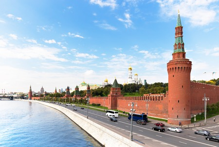 Kremlyovskaya embankment in Moscow, view from the river