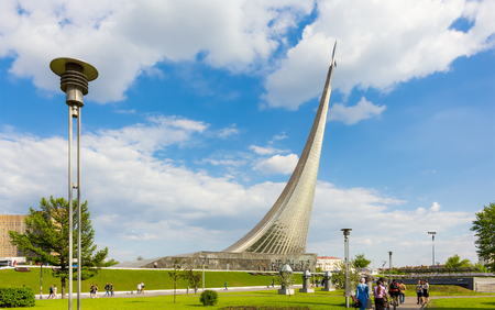MOSCOW - MAY 8, 2016: People walking near monument to the Conquerors of Space. It was build in 1964 to celebrate achievements of the Soviet people in space exploration.