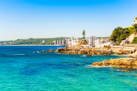 Seaside with bright blue water in Vina del Mar, Chile