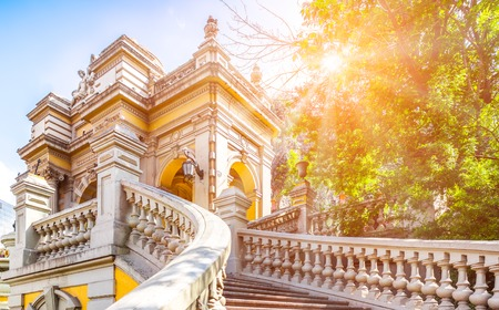 Urban park in colonial Spanish style in Santiago, Chile Stock Photo