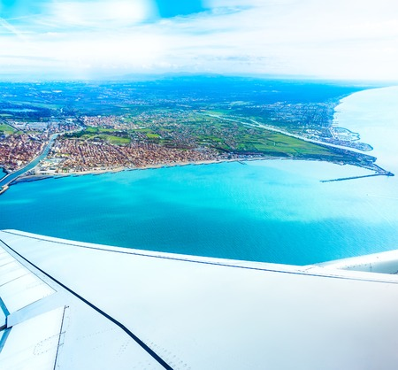 Aerrial view of Fiumicino bay, Italy with Mediterranean sea.