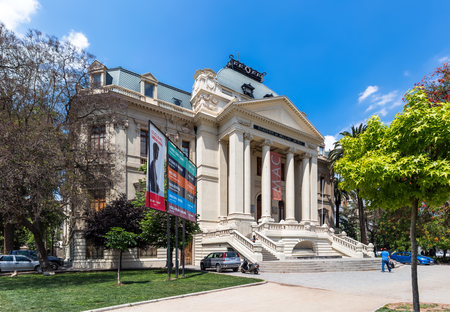 SANTIAGO, CHILE - OCTOBER 24, 2016: National Museum and Academy of Fine Arts (Academia de Bellas Artes). Established in 1880, this is one of the major centers for Chilean and South American art.