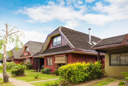 Typical chilean two-storey houses in Valdivia Stock Photo