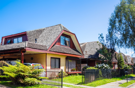 Traditional middle class dwelling in Valdivia, Chile Stock Photo