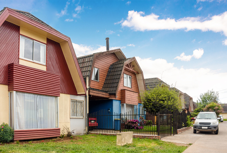 storey: Typical chilean two-storey houses in Valdivia Stock Photo