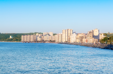 Pacific ocean with buildings of Vina del Mar, Chile on the background