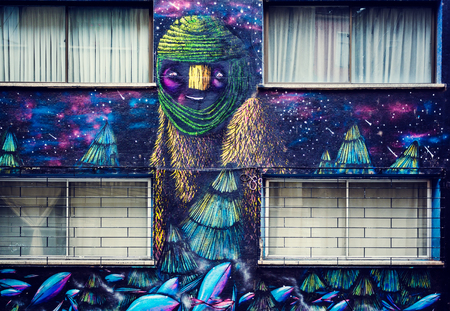 VALPARAISO, CHILE - OCTOBER 27, 2016: Street art graffiti in Concepcion and Alegre districts. Valparaiso is famous as a UNESCO World Heritage Site and also for murals by world class graffiti painters.
