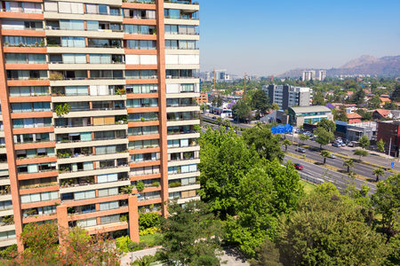 Balcony view to the neighborhood in Las Condes commune in Santiago, Chile