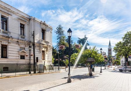 Stadscentrum van Talca met Plaza de Armas in Chili Stockfoto