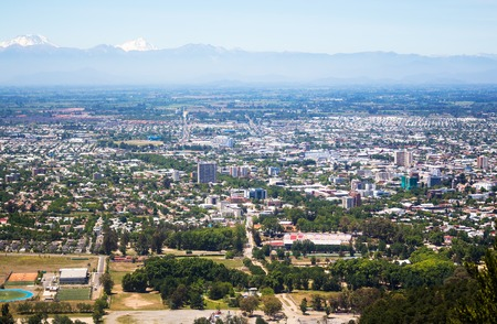 Panoramic view of Talca and Cordilleras in Chile