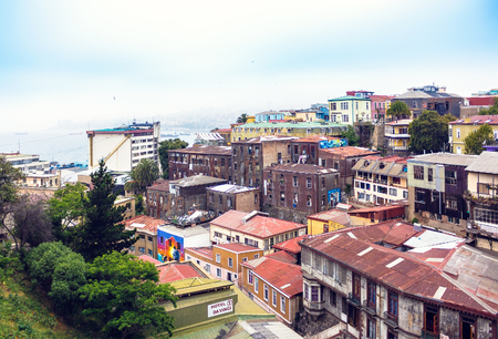 VALPARAISO, CHILE - OCTOBER 27, 2016: View of city center of Valparaiso form hill. Valparaiso is very picturesque city and famous as a UNESCO World Heritage Site.