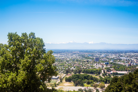 Panoramic view of Talca from mountain, Chile