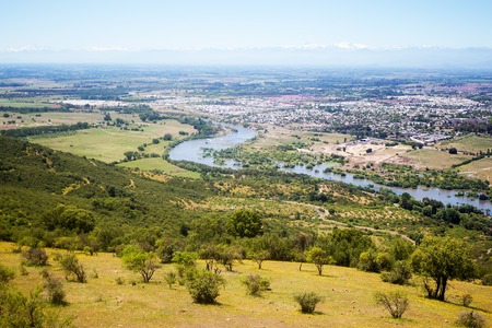 Panoramic view of the river Claro and city of Talca, Chile Фото со стока