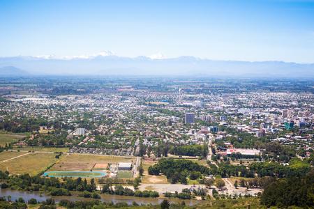 Panorama van Talca en Cordilleras in Chili Stockfoto