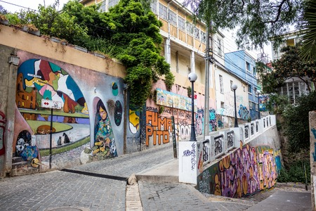VALPARAISO, CHILE - OCTOBER 27, 2016: Street art graffiti in Concepcion and Alegre districts. Valparaiso is famous for its association with murals by world class graffiti painters.