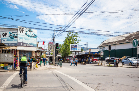 TALCA, CHILE - NOVEMBER 6, 2016: Street view of Talca near bus station. This street looks typical for Chile and Latin America in general.