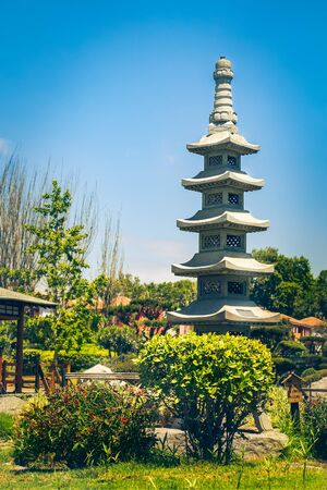 Fractal stone tower in japanese garden in La Serena, Chile Фото со стока