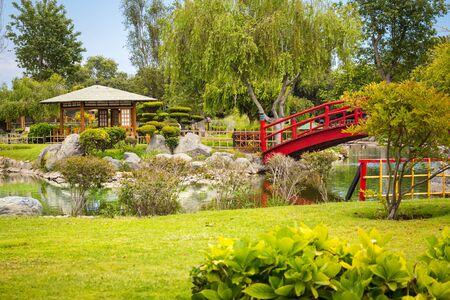 Red bridge in japanese garden in La Serena, Chile