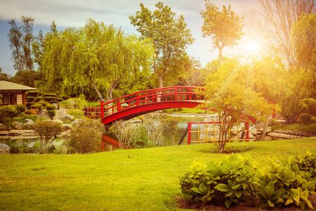 Red bridge in japanese garden at sunset in La Serena, Chile Фото со стока