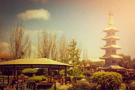 Fractal stone tower in japanese garden at sunset in La Serena, Chile