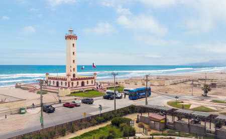 LA SERENA, CHILE - NOVEMBER 7, 2016: Panoramic view of the Monumental Lighthouse of La Serena. Lighthouse is one of the most popular tourist attractions in the area. Редакционное