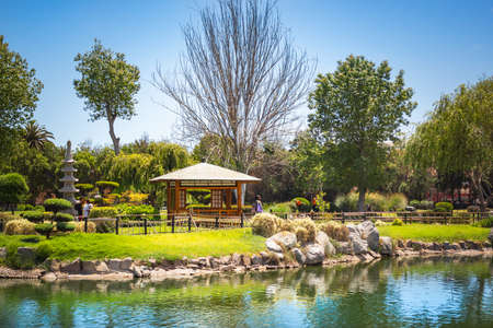 LA SERENA, CHILE - NOVEMBER 8, 2016: The Garden of the Heart Park (Kokoro No Niwa). Beautiful japanese garden with pond is the largest Japanese park in South America.