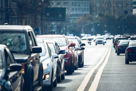Cars standing in a line during traffic jam Stock Photo