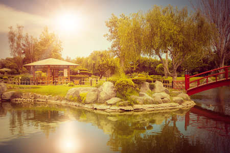 Beautiful japanese garden with reflections in the pond at sunset in La Serena, Chile