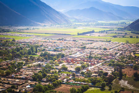 Aerial view of Vicuña surrounded by mountains, Chile Standard-Bild