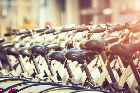 Closeup of bike saddles