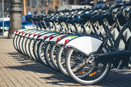 Wheels of bicycles at rental station Standard-Bild