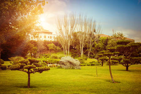 Japanese garden at sunset in La Serena, Chile